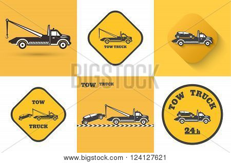 Set of Tow truck icon. Round the clock evacuation of cars. Design can be used as a logo a poster advertising singboard. Vector element of graphic design