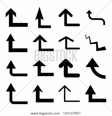 Turn Forward vector icon set. Collection style is black flat symbols on a white background. Turn Forward icons.
