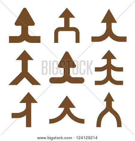 Merge Arrows Up vector icon set. Collection style is brown flat symbols on a white background. Merge Arrows Up icons.