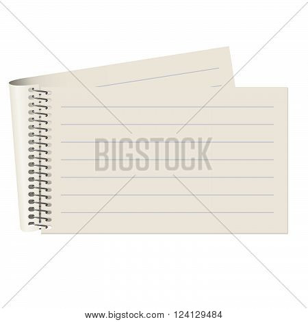 Empty lined paper block isolated on white background