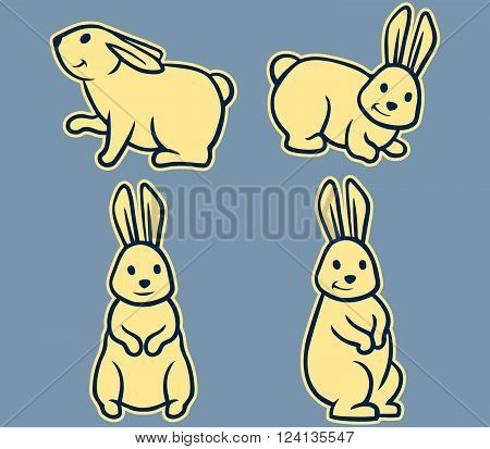 Vector illustration of rabbit retro line art set
