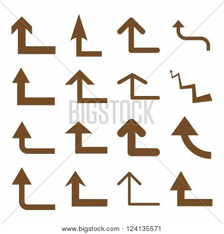 Turn Forward vector icon set. Collection style is brown flat symbols on a white background. Turn Forward icons.
