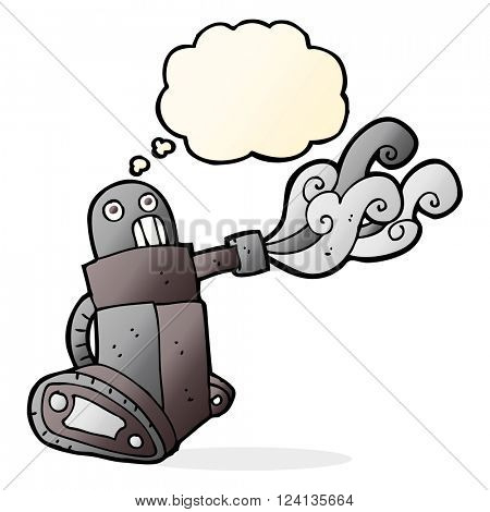 cartoon tank robot with thought bubble