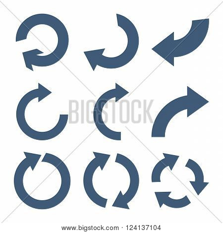 Rotate Clockwise vector icon set. Collection style is blue flat symbols on a white background. Rotate Clockwise icons.
