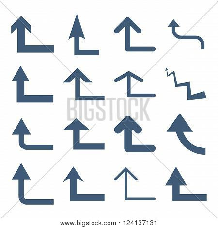 Turn Forward vector icon set. Collection style is blue flat symbols on a white background. Turn Forward icons.