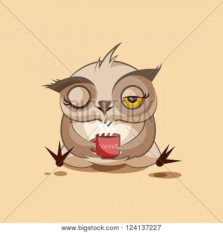 Vector Stock Illustration isolated Emoji character cartoon owl just woke up with cup of coffee sticker emoticon for site, infographic, video, animation, websites, e-mails, newsletters, reports, comics