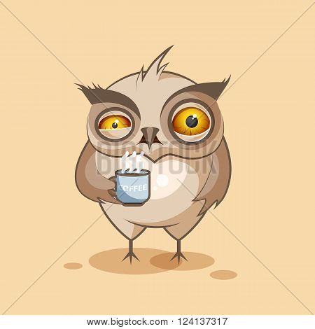 Vector Stock Illustration isolated Emoji character cartoon owl nervous with cup of coffee sticker emoticon for site, infographics, video, animation, websites, e-mails, newsletters, reports, comics