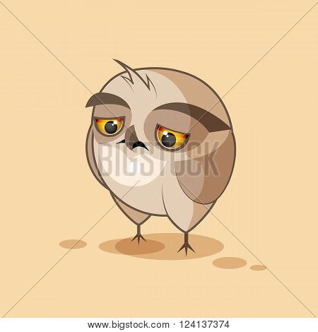 Vector Stock Illustration isolated Emoji character cartoon owl sad and frustrated sticker emoticon for site, infographics, video, animation, websites, e-mails, newsletters, reports, comics