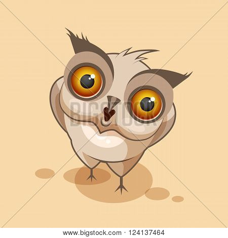 Vector Stock Illustration isolated Emoji character cartoon owl surprised with big eyes sticker emoticon for site, infographics, video, animation, websites, e-mails, newsletters, reports, comics