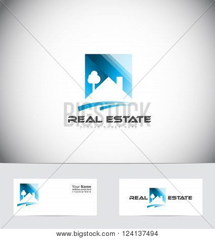 Vector company logo icon element template real estate house roof abstract property home residential construction realtor realty