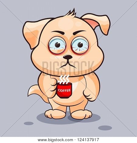 Vector Stock Illustration isolated Emoji character cartoon dog nervous with cup of coffee sticker emoticon for site, infographics, video, animation, websites, e-mails, newsletters, reports, comics
