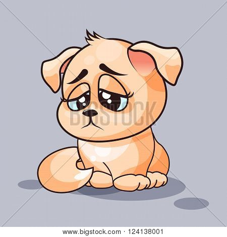 Vector Stock Illustration isolated Emoji character cartoon dog sad and frustrated sticker emoticon for site, infographics, video, animation, websites, e-mails, newsletters, reports, comics