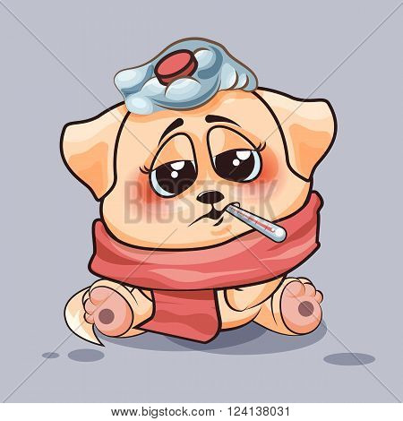 Vector Stock Illustration isolated Emoji character cartoon dog sick with thermometer in mouth sticker emoticon for site, infographics, video, animation, websites, e-mails, newsletters, reports, comics