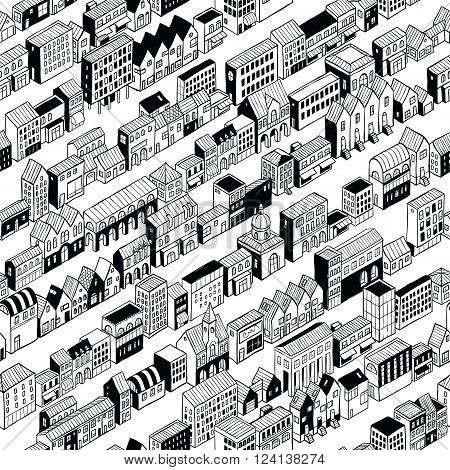 Row City Seamless Pattern is isometric doodle drawing a string of different buildings stretched along the continuous line. Illustration is in eps8 vector mode pattern is repetitive.
