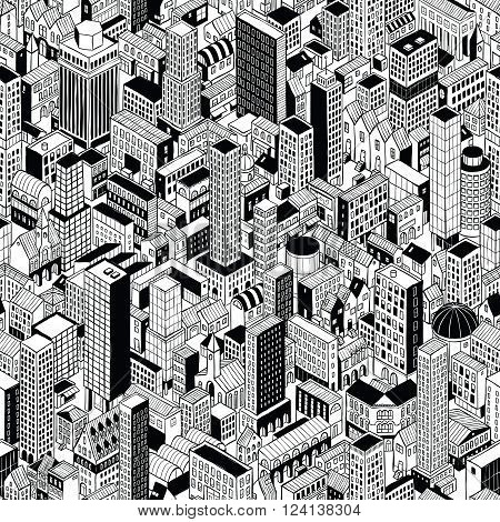 Generic City Seamless Pattern in isometric projection is hand drawing of different buildings (skyscrapers and low-rise). Illustration is in eps8 vector mode pattern is repetitive.