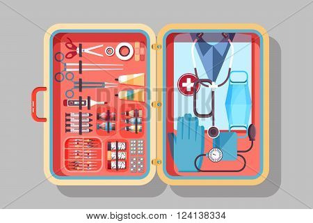 Set Stock vector illustration of medical supplies, drugs, pills, tools, clothing in medical suitcase in flat style element for infographic, website, icon, games, motion design, video