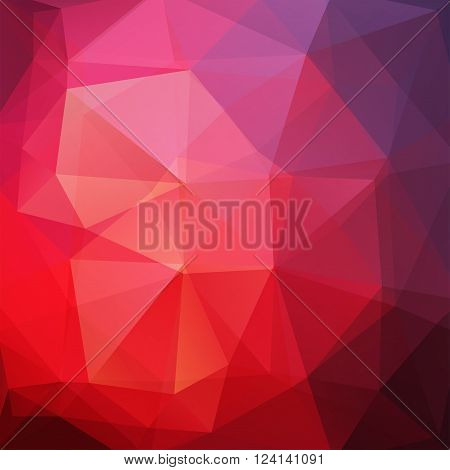 Background Made Of Triangles. Square Composition With Geometric Shapes. Eps 10 Red, Violet, Puple Co