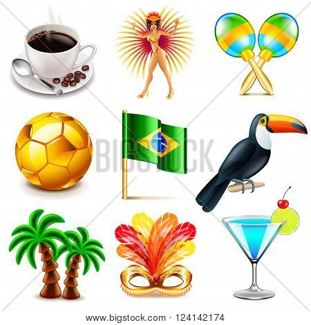 Brazil icons detailed photo realistic vector set