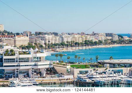 Cannes, France, - March 1, 2016: Panoramic view of Cannes, Promenade de la Croisette, the Croisette and Port Le Vieux of Cannes, France Cote d'Azur