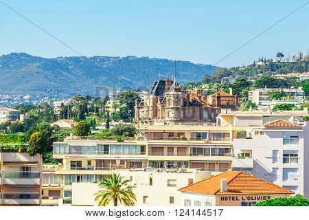Cannes, France, - March 1, 2016: Panoramic view of Le Suquet - the old town of Cannes, France Cote d'Azur