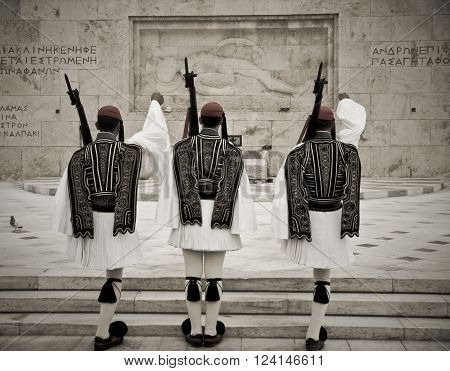 ATHENS, GREECE - AUGUST 15: Greek National Guard of Honor near Athens Parliament,  Greece