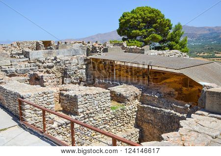 Scenic Minoan palace of Phaistos in Crete (Greece)