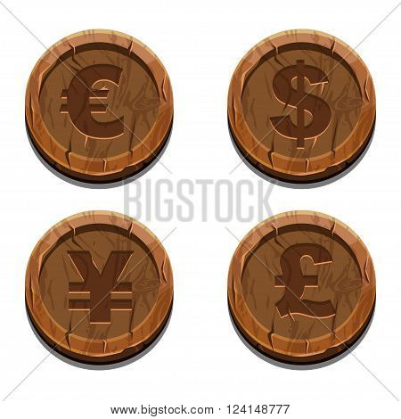 Main currencies symbols represented as wooden coins. Dollar Euro Pound and Yen