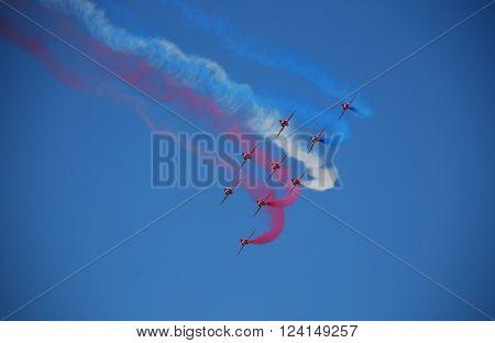 IZMIR/TURKEY-JUNE 5, 2011: Royal Air Force-RAF Red Arrows Aerobatic Team's Hawk at 2nd Main Jet Base-Cigli for Airshow. June 5, 2011-Izmir/Turkey
