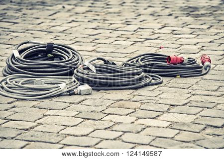close up on power cable on street