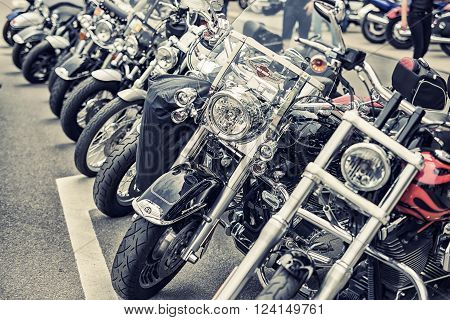 Wroclaw, Poland June 27, 2015:harley - Davidson In Kine On Motorshow In Wroclaw June 27, 2015