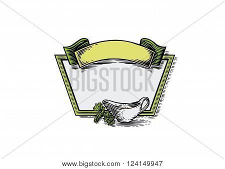 Vector drawing of cartouch with sauce boat and parsley