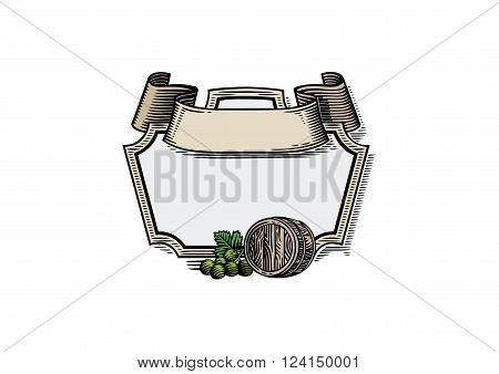 Vector drawing of cartouch with wooden barrel and grape bunch