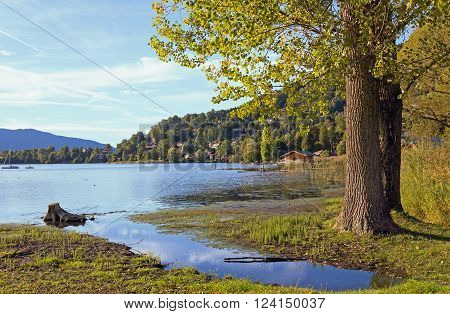 pictorial lake shore rottach-egern lake tegernsee bavaria