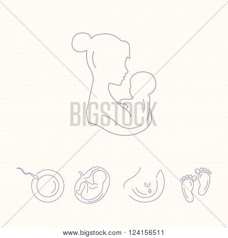 Mother is holding baby. Woman with a baby. Pregnancy and childbirth gynecology. Breastfeeding. Health medical and care child. Motherhood. Vector thin line icons.