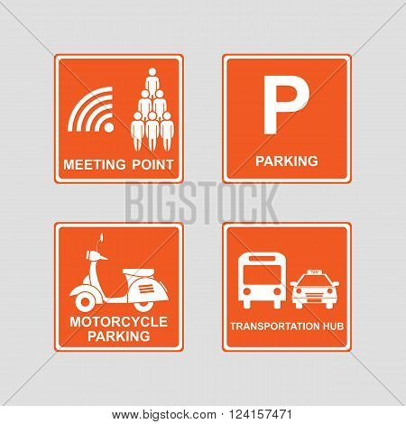 Meeting point parking area transportation hub and motorcycle parking icons sign & symbols on orange background. Vector illustration