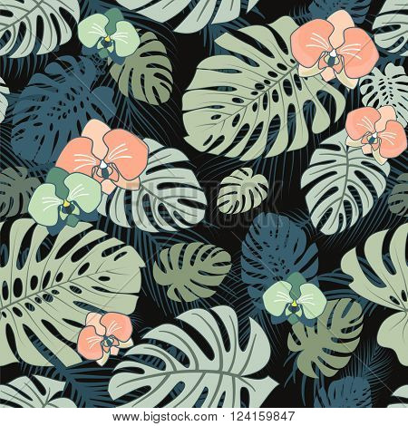 Exotic Tropical seamless pattern with flowers