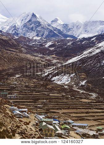 View of Dingboche village and Island Peak (Imja Tse) in the Nepal Himalaya.