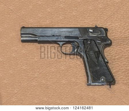 MOSCOW RUSSIA- DECEMBER 16 2015: - 9-mm military pistol VIS sample 35 (Poland)1935 at the Central Museum of the armed forces on December 16; 2015 in Moscow