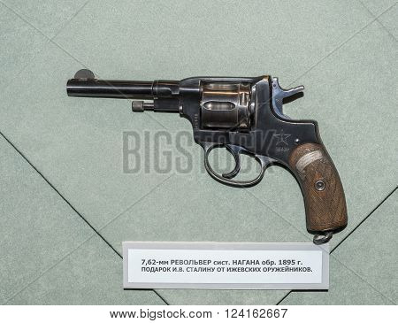 MOSCOW RUSSIA- DECEMBER 16- 7.62mm revolver system Nagant sample 1895. Gift to Joseph Stalin from Izhevsk gunsmiths at the Central Museum of the armed forces on December 16; 2015 in Moscow