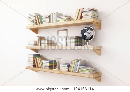 Sideview of shelves with book and other items on light wall background. 3D Render