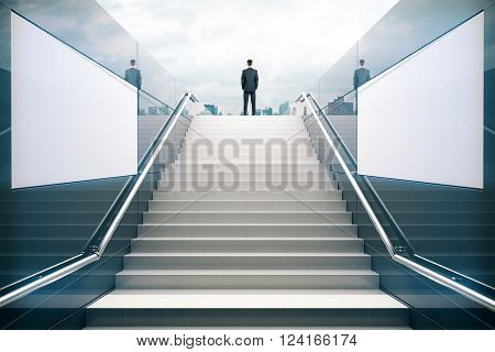 White stairs in pedestrian subway with businessman. 3D Render