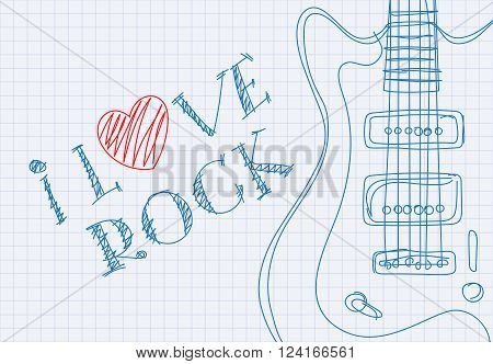 Inscription I love rock on notebook sheet patterned guitar