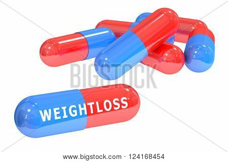 weightloss pills 3D rendering isolated on white background