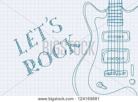 Inscription let's rock on notebook sheet patterned guitar