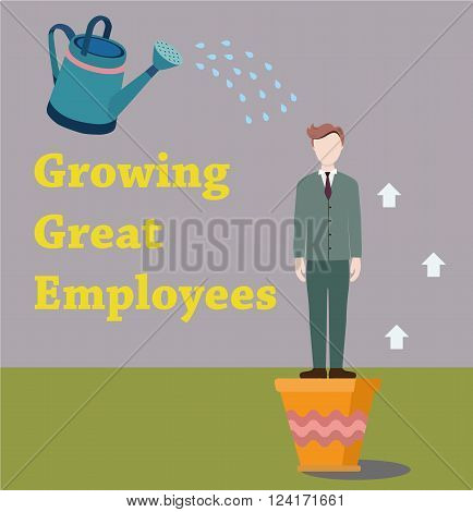 Businessman growing in a pot. Man in a suit sprinkled with water from the watering can. Growing great employees