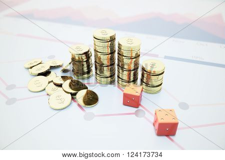 Dollar Coins And Dice