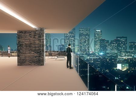 Office interior design with businesspeople and panoramic night city view. 3D Render
