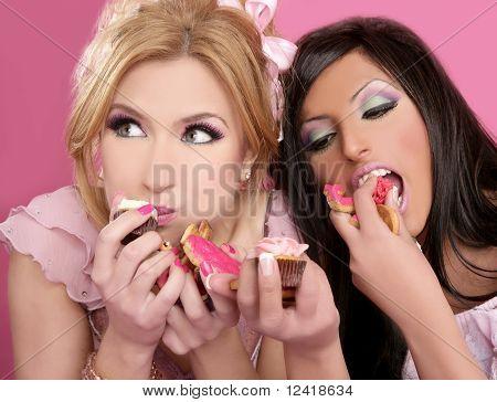 Beautiful Girls Eating Diet Sweet