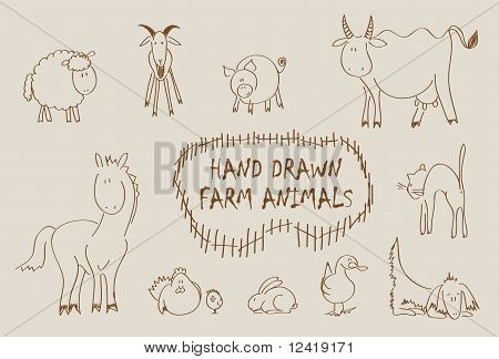 Hand drawn farm animals vector set