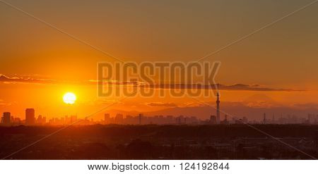 Sunset landscape with Tokyo city view and Fuji mountain